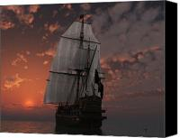 Sunset Mixed Media Canvas Prints - Bateau de pirate Canvas Print by Steven Palmer