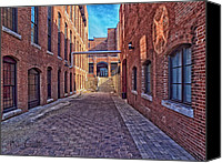 Factory Photo Canvas Prints - Bates Mill Lewiston Maine Canvas Print by Bob Orsillo
