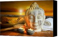 Bathe Canvas Prints - Bath accessories with buddha statue at sunset Canvas Print by Sandra Cunningham