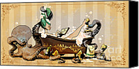 Vintage Canvas Prints - Bath Time With Otto Canvas Print by Brian Kesinger