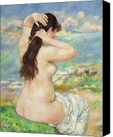 Fresco Canvas Prints - Bather Arranging her Hair Canvas Print by Pierre Auguste Renoir