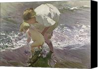1923 (oil On Canvas) Canvas Prints - Bathing on the Beach Canvas Print by Joaquin Sorolla y Bastida