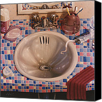 Bathroom Canvas Prints - BATHROOM SINK 1991  Skewed perspective series 1991 - 2000 Canvas Print by Larry Preston