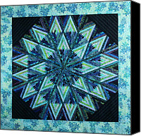 Fiber Art Tapestries - Textiles Canvas Prints - Batik Star Canvas Print by Patty Caldwell