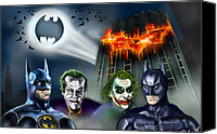 Dark Knight Canvas Prints - Batman 89 vs The Dark Knight 08 Canvas Print by Vinny John