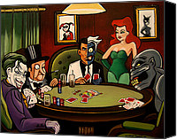 Emily Jones Canvas Prints - Batman Villains Playing Poker Canvas Print by Emily Jones