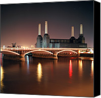 Battersea Canvas Prints - Battersea Power Station At Night Canvas Print by Mark A Paulda