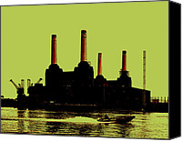 Black Digital Art Canvas Prints - Battersea Power Station London Canvas Print by Jasna Buncic