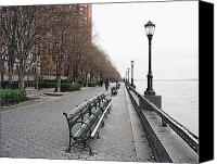 Park Benches Photo Canvas Prints - Battery Park Canvas Print by Michael Peychich