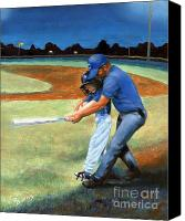 Baseball Painting Canvas Prints - Batting Coach Canvas Print by Pat Burns