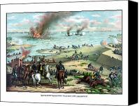 Civil War Painting Canvas Prints - Battle Between The Monitor And Merrimac Canvas Print by War Is Hell Store