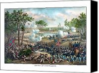 Civil War Painting Canvas Prints - Battle of Cold Harbor Canvas Print by War Is Hell Store