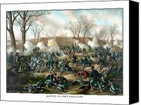 United States Drawings Canvas Prints - Battle of Fort Donelson Canvas Print by War Is Hell Store