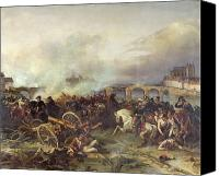 Gunfire Canvas Prints - Battle of Montereau Canvas Print by Jean Charles Langlois