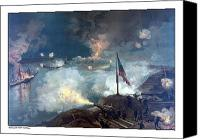 Ships Painting Canvas Prints - Battle of Port Hudson Canvas Print by War Is Hell Store