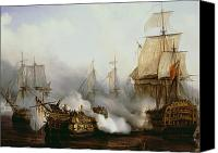 Oil On Canvas Canvas Prints - Battle of Trafalgar Canvas Print by Louis Philippe Crepin 