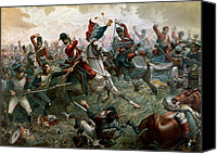 Military Uniform Painting Canvas Prints - Battle of Waterloo Canvas Print by William Holmes Sullivan