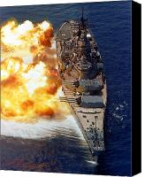 Naval Warfare Canvas Prints - Battleship Uss Iowa Firing Its Mark 7 Canvas Print by Stocktrek Images