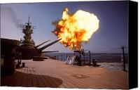 Naval Warfare Canvas Prints - Battleship Uss Wisconsin Fires One Canvas Print by Stocktrek Images