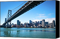 Bay Bridge Canvas Prints - Bay Bridge And Embarcadero Canvas Print by Lily Chou