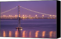 Bay Bridge Canvas Prints - Bay Bridge At Dusk Canvas Print by Sean Duan