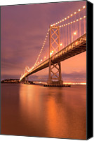 Bay Bridge Canvas Prints - Bay Bridge At Night, San Francisco Canvas Print by Photograph by Daniel Pivnick
