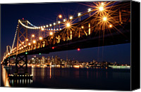 San Francisco Photo Canvas Prints - Bay Bridge In Front Of San Francisco Skyline Canvas Print by Blue Hour Photography