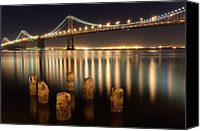 Bay Bridge Canvas Prints - Bay Bridge Reflections Canvas Print by Connie Spinardi