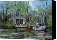 Swamp Canvas Prints - Bayou Shrimper Canvas Print by Dianne Parks