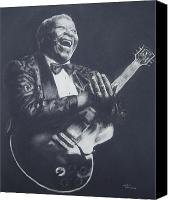 Angel Blues  Drawings Canvas Prints - BB King Canvas Print by Cynthia Campbell