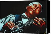 Music Tapestries Textiles Canvas Prints - BB King of the Blues Canvas Print by Richard Klingbeil
