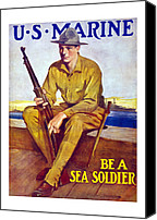 Devil Mixed Media Canvas Prints - Be A Sea Soldier  Canvas Print by War Is Hell Store