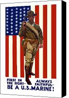 United States Mixed Media Canvas Prints - Be A US Marine Canvas Print by War Is Hell Store