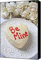 White Rose Canvas Prints - Be mine heart cake Canvas Print by Garry Gay