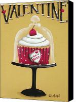 Cake-stand Canvas Prints - Be Mine Valentine Canvas Print by Catherine Holman