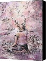 Fantasy Fairy Drawings Canvas Prints - Be still Canvas Print by Rachel Christine Nowicki