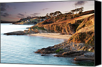 Cornwall Canvas Prints - Beach And Castle In Uk Canvas Print by Ray Bradshaw