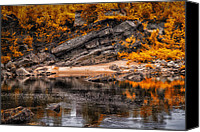 Androscoggin River Canvas Prints - Beach before the waterfall Canvas Print by Bob Orsillo