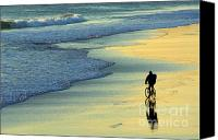 Tide Canvas Prints - Beach Biker Canvas Print by Carlos Caetano