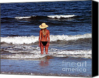 Beach Photograph Digital Art Canvas Prints - Beach Blonde - Digital Art Canvas Print by Al Powell Photography USA