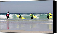 Sennen Canvas Prints - Beach Boys go surfing Canvas Print by Terri  Waters