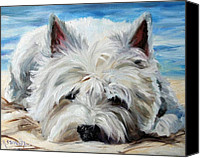 Westies Canvas Prints - Beach Bum Canvas Print by Mary Sparrow Smith