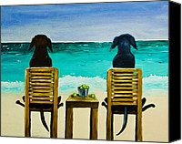 Dog Glass Canvas Prints - Beach Bums Canvas Print by Roger Wedegis
