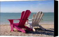 Beach Chairs Canvas Prints - Beach Chairs Canvas Print by David Lee Thompson