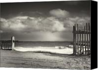 Beach Photograph Photo Canvas Prints - Beach Fence - Wellfleet Cape Cod Canvas Print by Dapixara Art