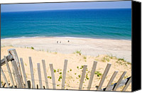 Seashore Canvas Prints - beach fence and ocean Cape Cod Canvas Print by Matt Suess