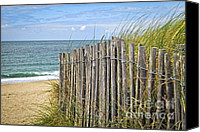 Brittany Canvas Prints - Beach fence Canvas Print by Elena Elisseeva