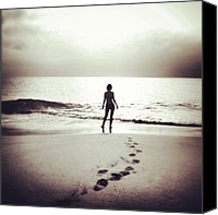 Beach Canvas Prints - #beach #footprint #sea #sun #sand Canvas Print by Ritchie Garrod