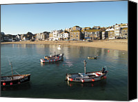 Cornwall Canvas Prints - Beach Front, St Ives, Cornwall Canvas Print by Thepurpledoor