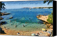 Europe Canvas Prints - Beach in Vouliagmeni Canvas Print by George Atsametakis